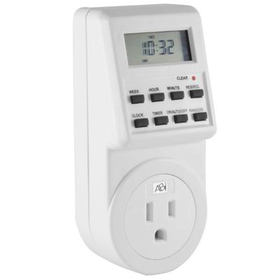 ABI Digital Power Timer 7-Day Programmable Grounded 3-Prong Socket Plug-in Outlet Switch 15A/1800W