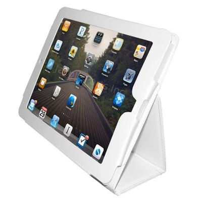 White Leather Style Case with Stand for Apple iPad