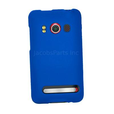 Blue Rubberized Hard Snap-On Case for HTC Evo 4G