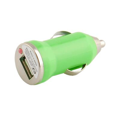 Mini Universal USB Car Charger DC Power Adapter, 5V 1A, Green