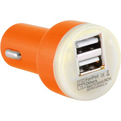 Dual USB 2 Port Universal Car Charger DC Adapter Mini Bullet 5V 2.1A, Orange