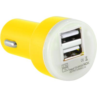 Dual USB 2 Port Universal Car Charger DC Adapter Mini Bullet 5V 2.1A, Yellow