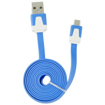 Micro USB Data / Charging Cable, Flat Tangle-Free Design (Blue)