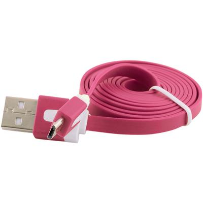 Flat Micro USB Data Sync Charger Cable for Samsung Galaxy S4 S3 S2 - Pink