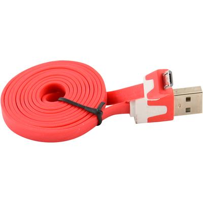 Flat Micro USB Data Sync / Charger Cable for Samsung, Motorola, Nokia, HTC (Red)