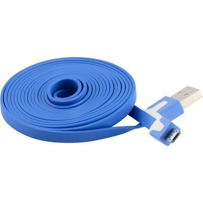 6FT/2M Flat Micro USB Data Charger Cable Samsung Motorola HTC Nokia LG, Blue
