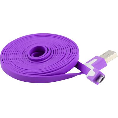 Extra Long 6 FT Flat Micro USB Data Charger Cable for Samsung, Motorola, HTC Nokia, LG (Purple)