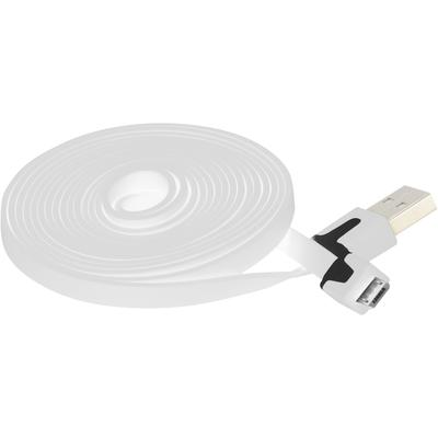 Extra Long 6 FT Flat Micro USB Data Charger Cable for Samsung, Motorola, HTC Nokia, LG (White)