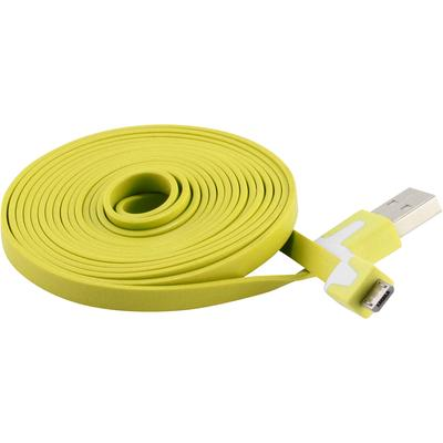 Extra Long 6 FT Flat Micro USB Data Charger Cable for Samsung, Motorola, HTC Nokia, LG (Yellow)