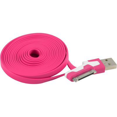 6FT/2M Flat USB Data Sync Charger Cable Cord for Apple iPhone 4 4S 4G 4th, Hot Pink