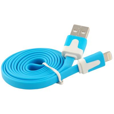Flat Tangle-Free USB Data Sync Charging Cable for iPhone 5 (Blue)