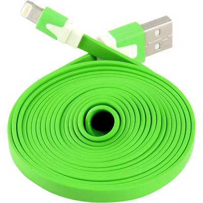 Extra Long Flat 6 FT USB Data Sync Charger Cable for Apple iPhone 5 5S 5C iOS 7 (Green)