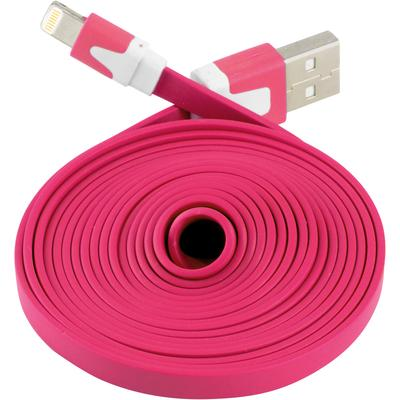 Extra Long Flat 6 FT USB Data Sync Charger Cable for Apple iPhone 5 5S 5C iOS 7 (Hot Pink)
