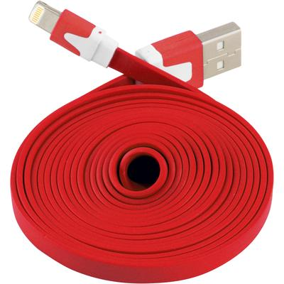 Extra Long Flat 6 FT USB Data Sync Charger Cable for Apple iPhone 5 5S 5C iOS 7 (Red)