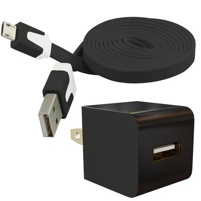 Universal Micro-USB Wall Charger AC Adapter Kit with Flat Cable, Black