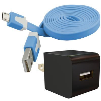 Universal Micro-USB Wall Charger AC Adapter Kit with Flat Cable, Blue