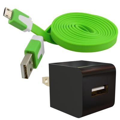 Universal Micro-USB Wall Charger AC Adapter Kit with Flat Cable, Green