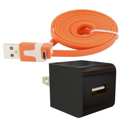 Universal Micro-USB Wall Charger AC Adapter Kit with Flat Cable, Orange