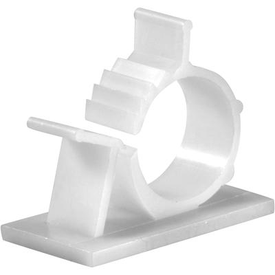 Adhesive Cable Management Clips, 0.85 Inch Adjustable Clamp, White