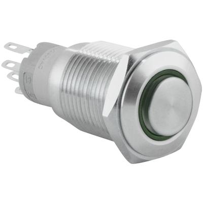 16mm 12V LED Latching Push Button Stainless Steel Power Switch, Green