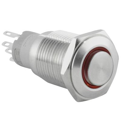 16mm 12V LED Latching Push Button Stainless Steel Power Switch, Red