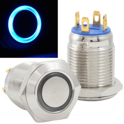 JacobsParts 14mm Stainless Steel Momentary Push Button Switch Silver